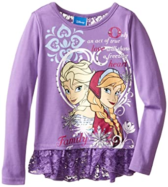 da3f4ca24 Amazon.com: Disney Girls' Frozen Anna and Elsa Long Sleeve Top: Clothing