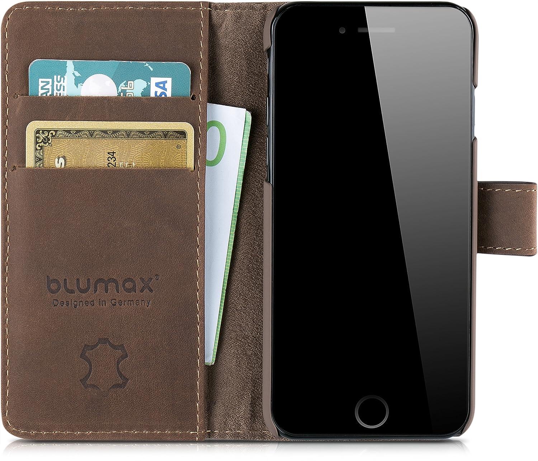 Blumax Echt Ledertasche abnehmbare magnetische Lederh/ülle kompatibel mit iPhone 8 iPhone 7 /& iPhone 6 6s 4,7 Zoll mit Kartenfach Handytasche antik Vintage dunkel Braun