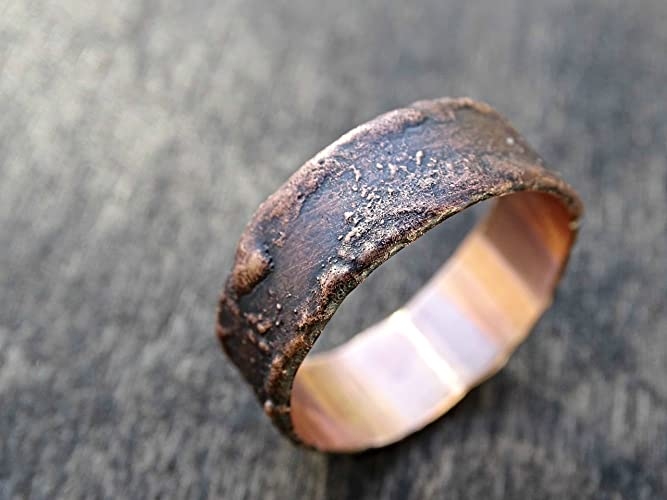 Amazon Com Bronze Ring Cool Mens Ring Rustic Ring Bronze Wood