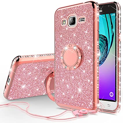 on sale ca411 26fa2 Glitter Cute Phone Case with Kickstand Compatible for Galaxy J3v/J3 Case,  Galaxy Sky Case, J36v Case Bling Diamond Rhinestone Bumper Ring Stand ...