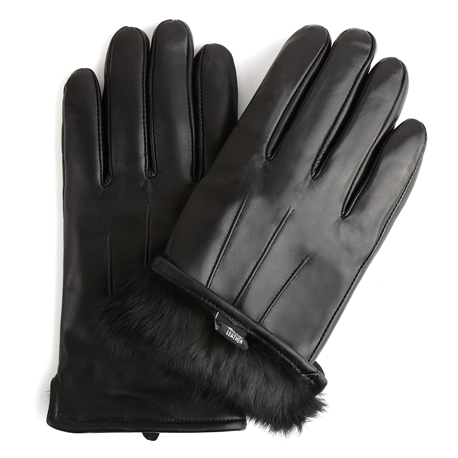 Mens leather gloves rabbit fur lined - Sandory Men S Luxurious Genuine Leather With Rabbit Fur Lined Gloves X Small Black Fur At Amazon Men S Clothing Store