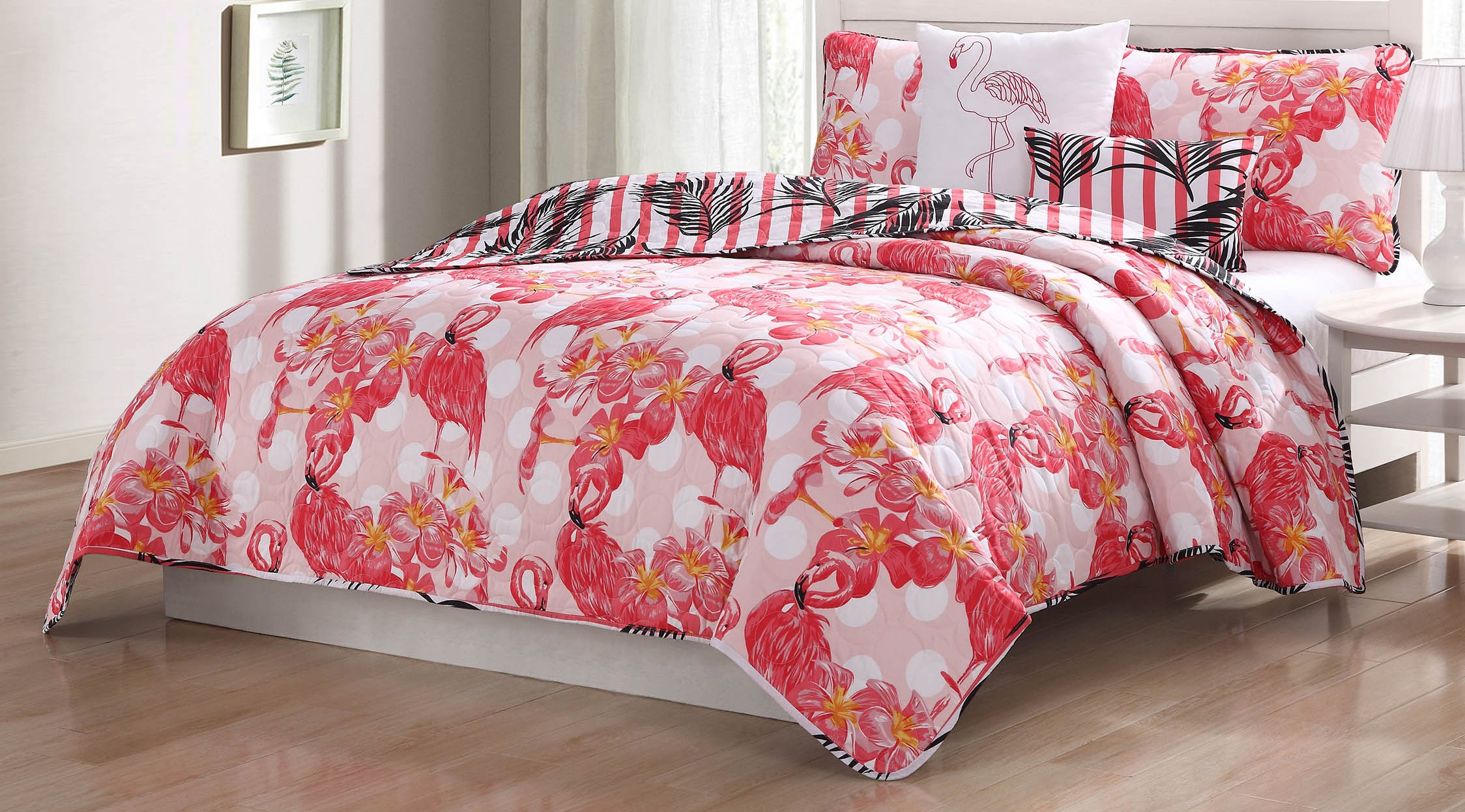 Quaint Home Flamingo 5-Piece King Quilt Set, Pink/Orange/White