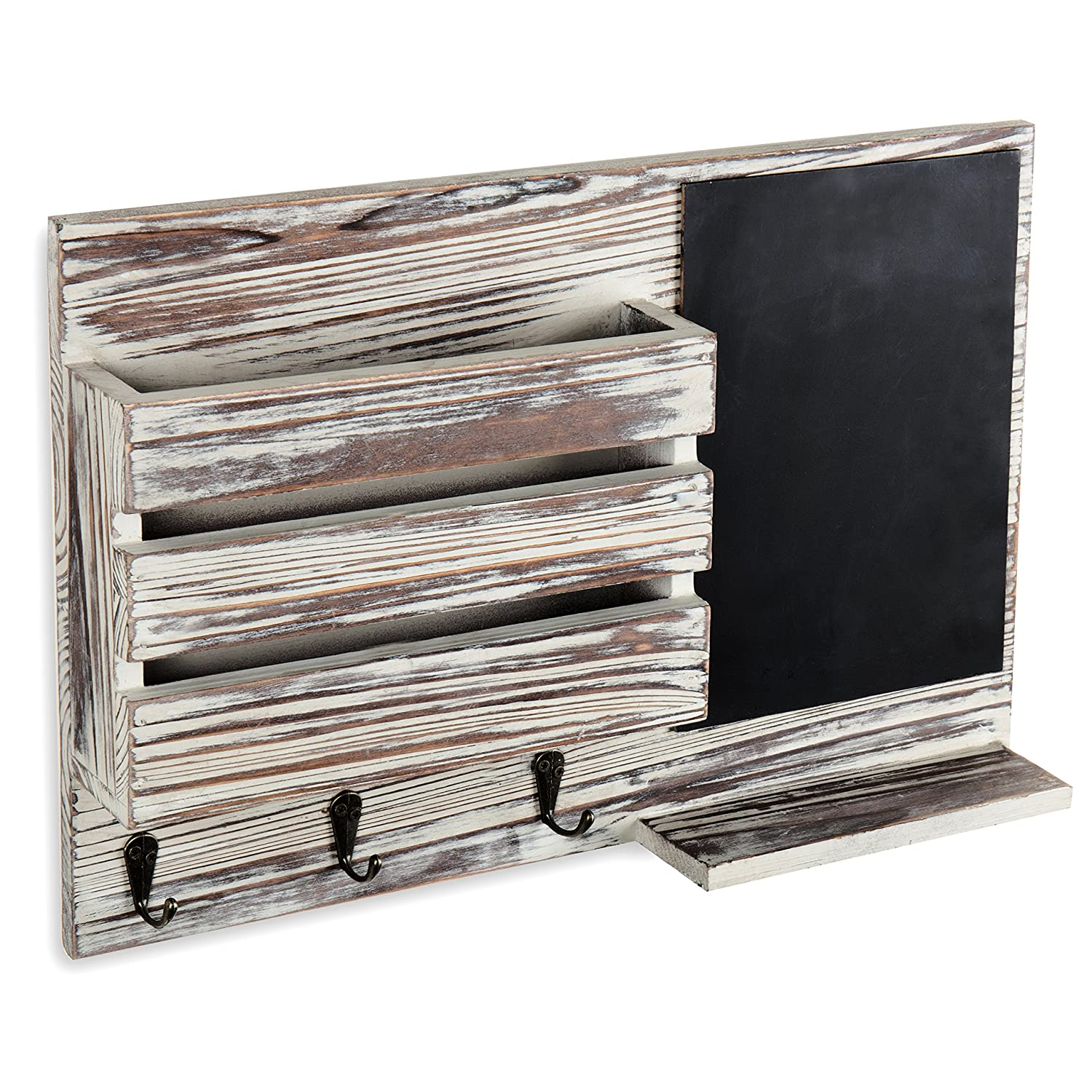 MyGift Torched Wood Wall-Mounted Mail Organizer with Chalkboard /& 3 Key Hooks