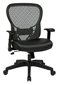SPACE Seating R2 SpaceGrid Back and Padded Memory Foam Eco Leather Seat, 2-to-1 Synchro Tilt Control, Adjustable Flip Arms, Nylon Base Adjustable Managers Chair, Black