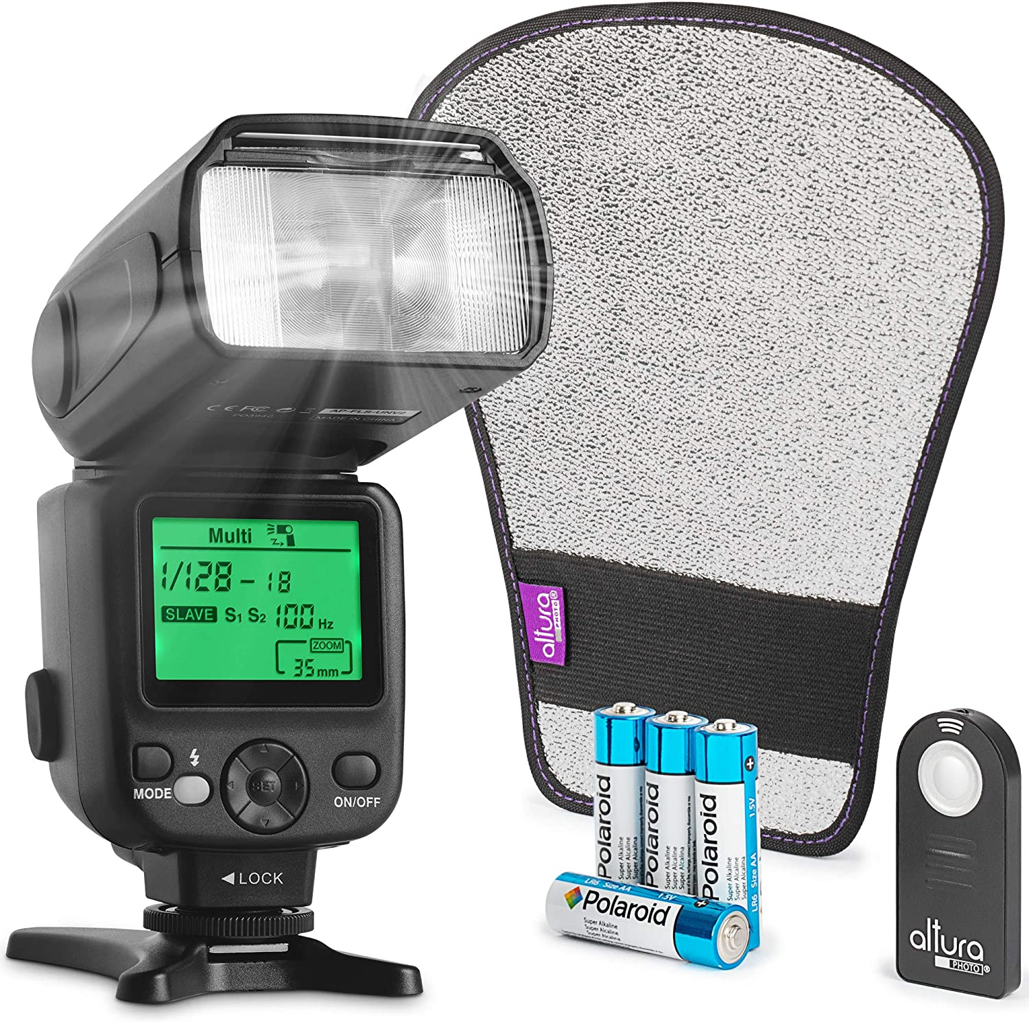 Altura Photo AP-UNV2 Bundle DSLR and Mirrorless Camera Flash Speedlite for Canon Nikon Sony Olympus Panasonic