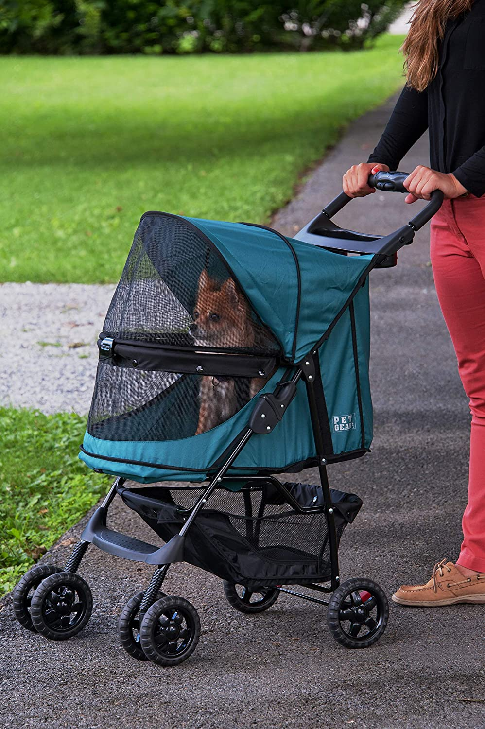 Pet Gear No-Zip Happy Trails Pet Stroller for Cats Dogs, Zipperless Entry, Easy Fold with Removable Liner, Storage Basket Cup Holder