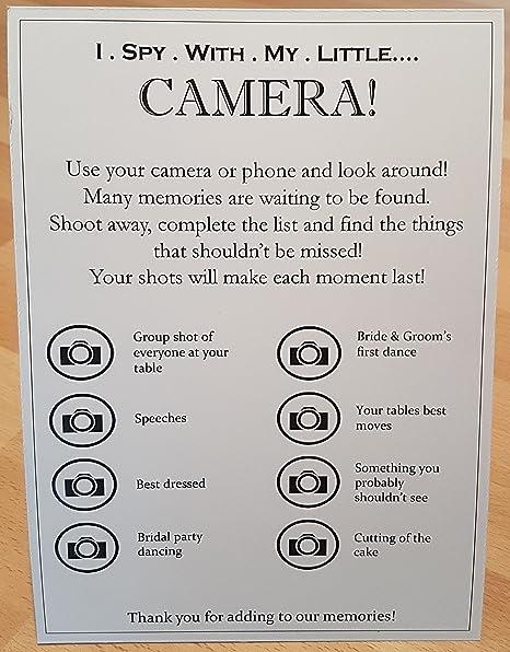 wedding table camera cards i spy black on white card 10