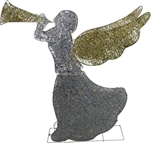 """Northlight 46"""" Silver and Gold Lighted 3-D Glittered Angel Christmas Outdoor Decoration - Clear Lights"""
