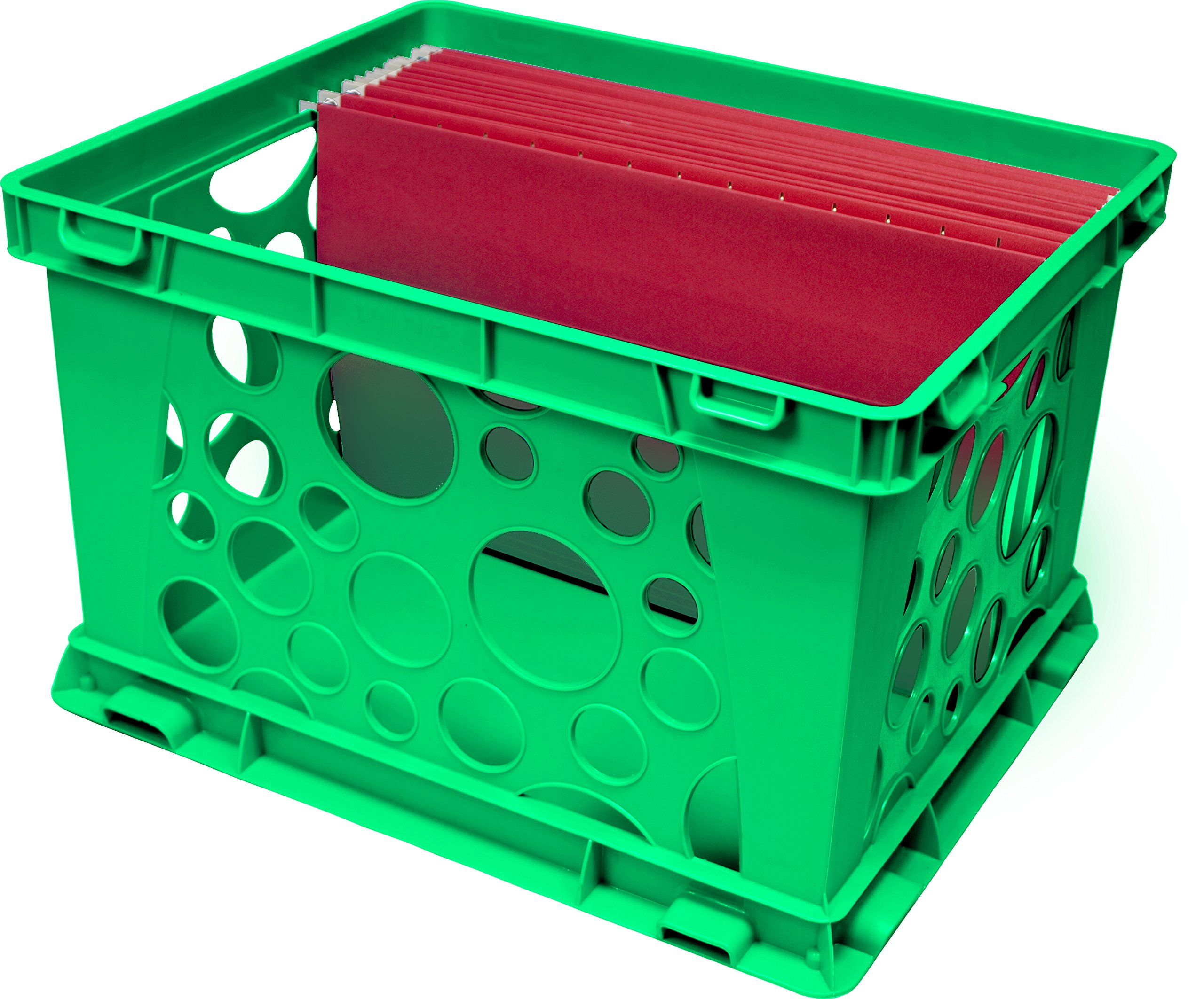 Storex Large Storage and Transport File Crate, 17.25 x 14.25 x 10.5 Inches, Green, Case of 3 (STX61556U03C) by Storex (Image #3)