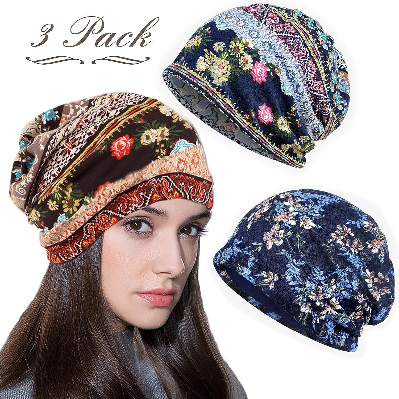 816881d2fdf482 Amazon.com: LOLIAS 3 Pcs Slouchy Beanie for Women Girls Soft Lightweight  Chemo Cap Headwear Sleep Hats Infinity Scarf: Jewelry