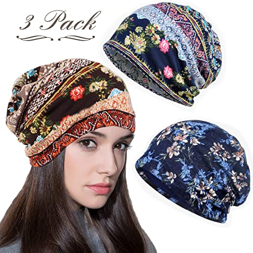 556366ac0 LOLIAS 3 Pcs Slouchy Beanie for Women Girls Soft Lightweight Chemo Cap  Headwear Sleep Hats Infinity Scarf