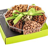 Holiday Christmas Nuts Gift Basket - Fresh Sweet & Salty Dry Roasted Gourmet Gift Basket - Food Gift Basket for…