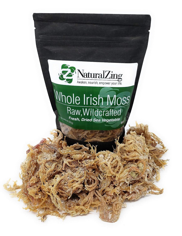 Natural Zing Fresh Whole Irish Moss 8 Ounce Raw Wildcrafted, Vegan, Fresh Dried Sea Vegetable, Gracilaria Sea Moss