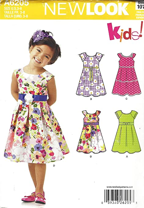 6205 CHILD/'S DRESS Sewing Pattern NEW LOOK Kids 4 styles Ages 3-8