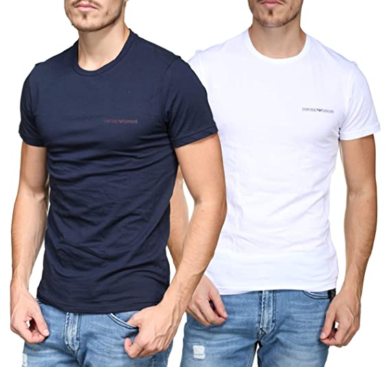 bace9ddc Emporio Armani Underwear Men's 2-Pack T-Shirt Short Sleeve Multicolour  (Marine/