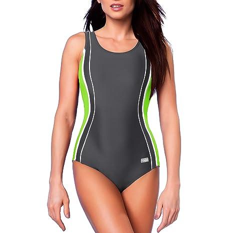 e44e07d9be44d Gwinner Women s Agnes One Piece Padded Swimming Costume Athletic Swimsuit  Sport Training Bathing - S -