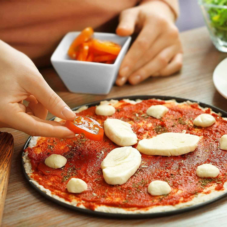 Relaxdays Juego de 2 Bandejas Pizza Horno Redondas y Antiadherentes Acero al Carbono Gris /∅ 32 cm