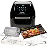 Power Air Fryer Cooker - Chip Fryer, Portable Oven, Oil Free Hot Air Health Fryer, Rotating Rotisserie and Dehydrator (1800W) Black