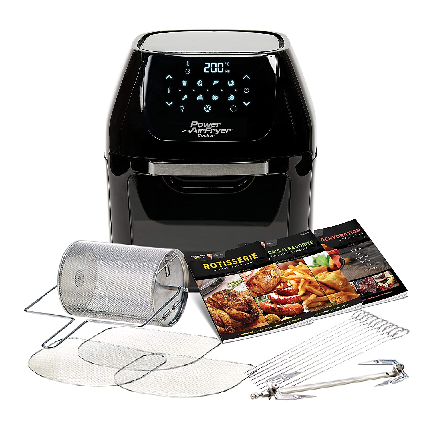 Power Air Fryer Cooker - Chip Fryer, Portable Oven, Oil Free Hot Air Health Fryer, Rotating Rotisserie and Dehydrator (1800W) Black High Street TV PAFBKO