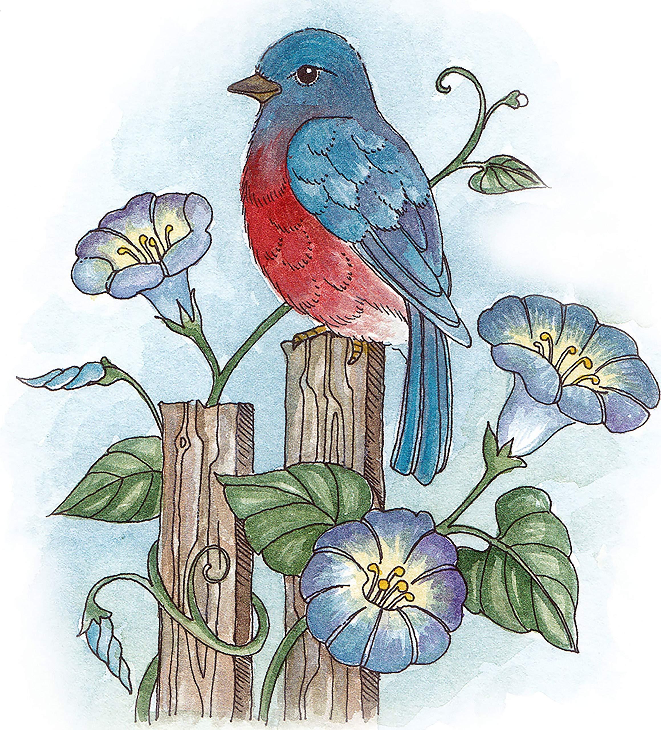 Cottagecutz Stamp & Die Set-bluebird & Morning Glories 3''x3''