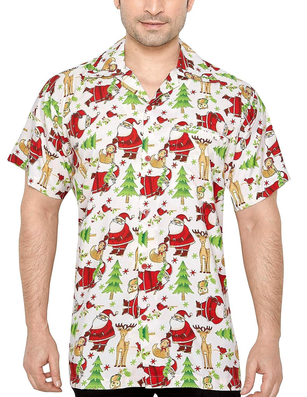 CLUB CUBANA Hombres Ajuste Regular Clásica Manga Corta Casual Navidad Camiseta Navideña
