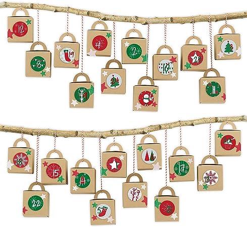 24 Boîtes à Anse Pour Calendrier De L Avent Motif Boîtes Marron Avec Rouge Vert à Remplir Noël 2018
