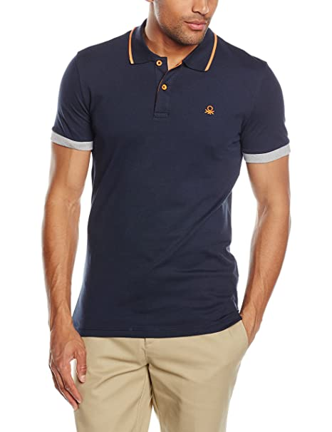United Colors of Benetton Logo Pique Slim Fit Polo, Azul (Marino ...