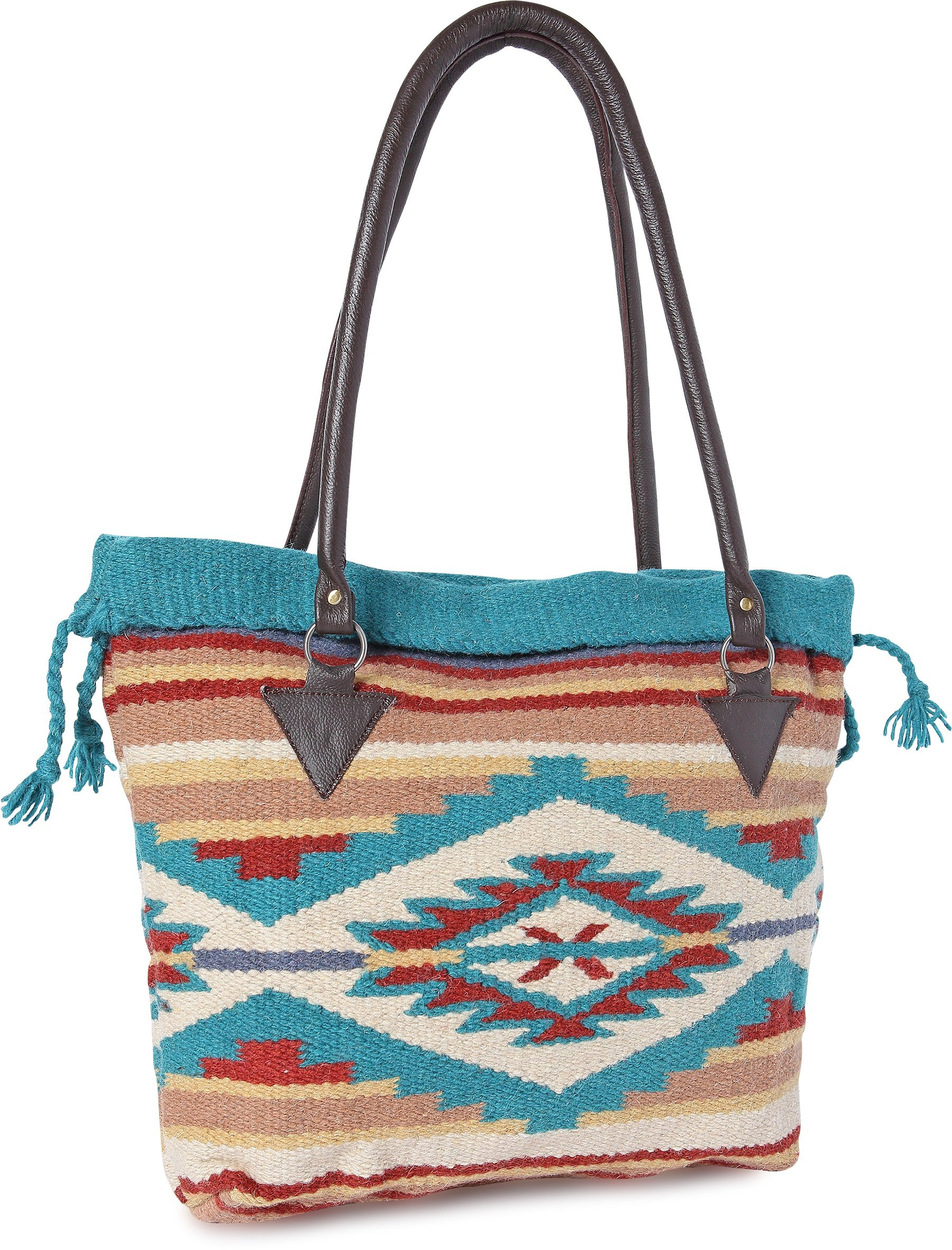Handwoven Wool Malibu Purse with Genuine Leather handles. Large Eco Friendly Tote Bag, Native American Styles ((B) Beige Pyramid)