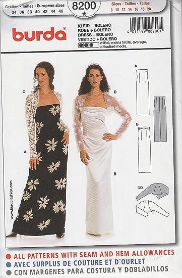 Burda Sewing Pattern 8200 for Dress & Bolero in Sizes 8 - 20