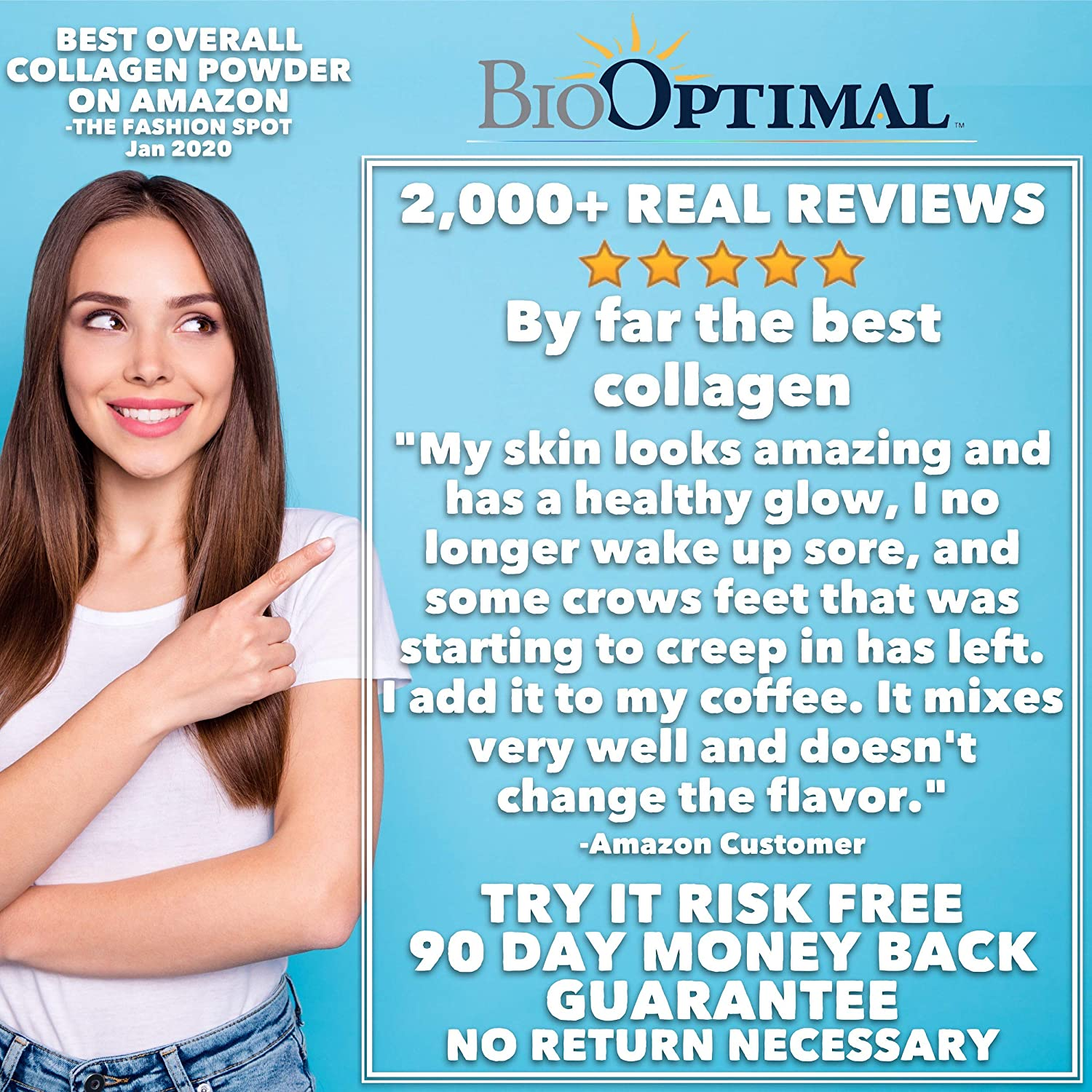 BioOptimal Collagen Powder - Collagen Peptides, Grass Fed, for Skin, Hair, Nails & Joints, Collagen Supplements for Women & Men, Pasture Raised, Dissolves Easily, 300 Grams: Health & Personal Care