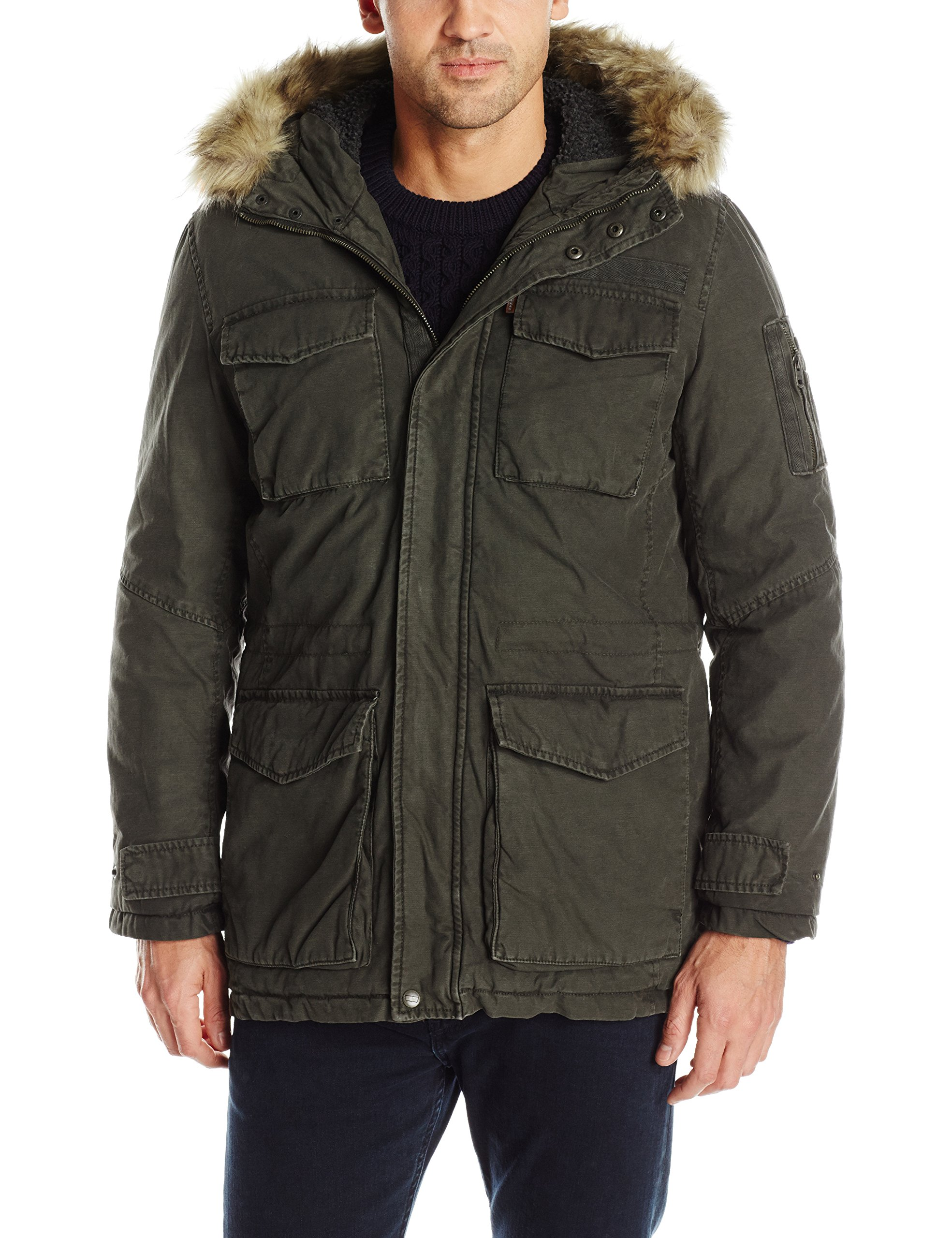 Levi's Men's Washed Cotton Sherpa Lined Parka with Removable Faux Fur Trim, Olive, L by Levi's