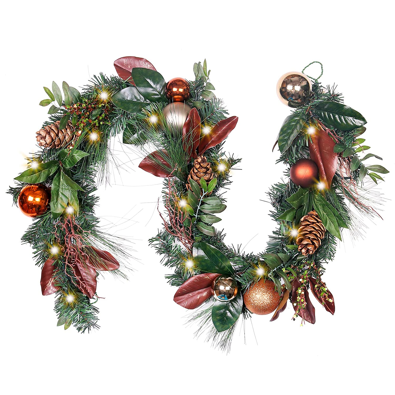 Pre Lit 6 Feet 72 Inch Woodland Christmas Garland With Ball Ornaments And Pine Cone Eg120 Mc17040 72x55 20d