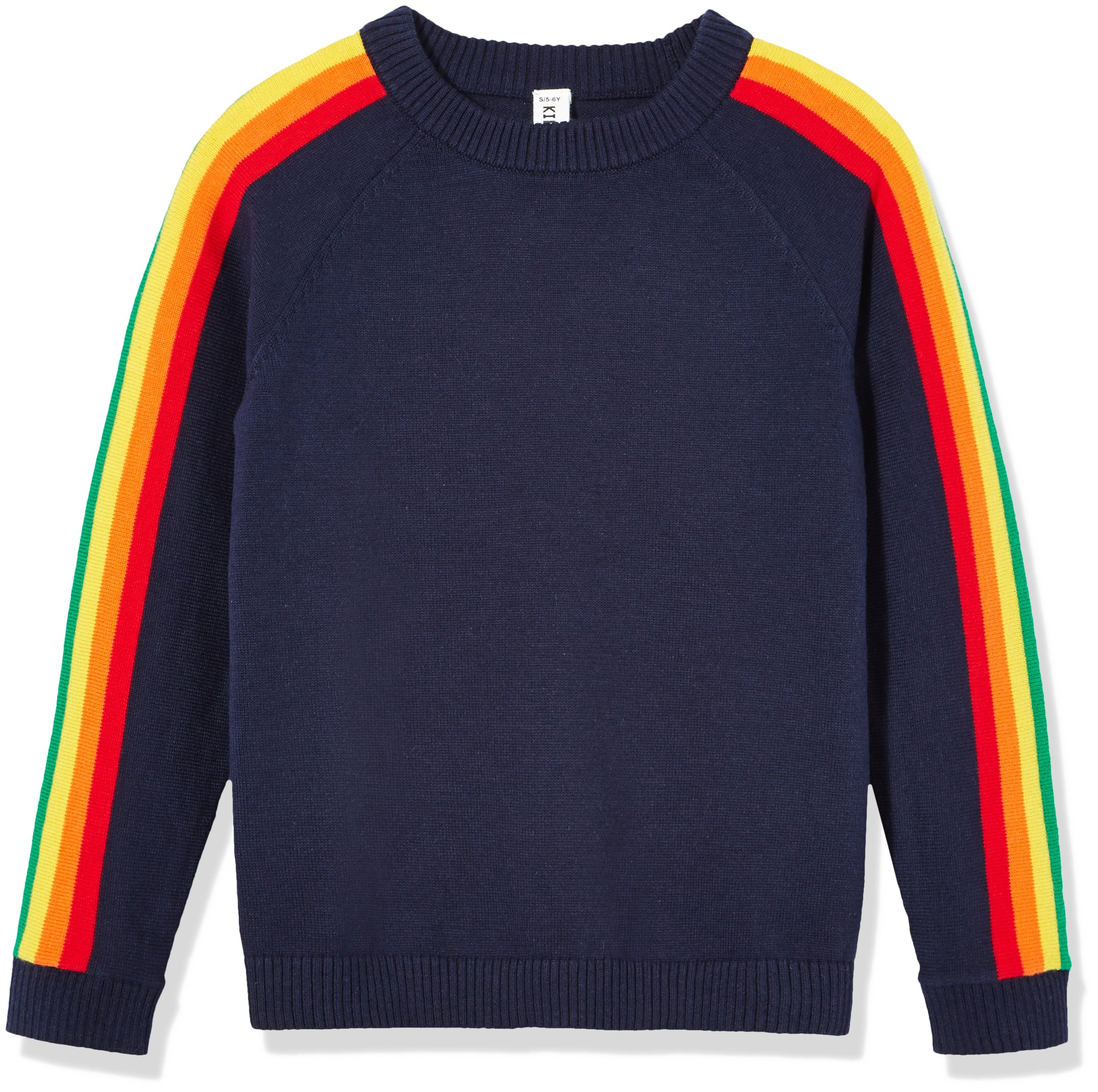 Kid Nation Kids'' Long Sleeve Pullover Sweater Rainbow for Boys or Girls M Navy