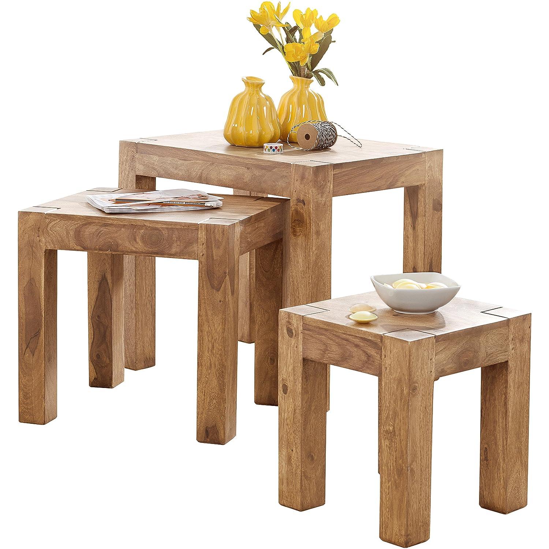 Wohnling 3er Set Satztisch Massiv Holz Akazie Wohnzimmer Tisch