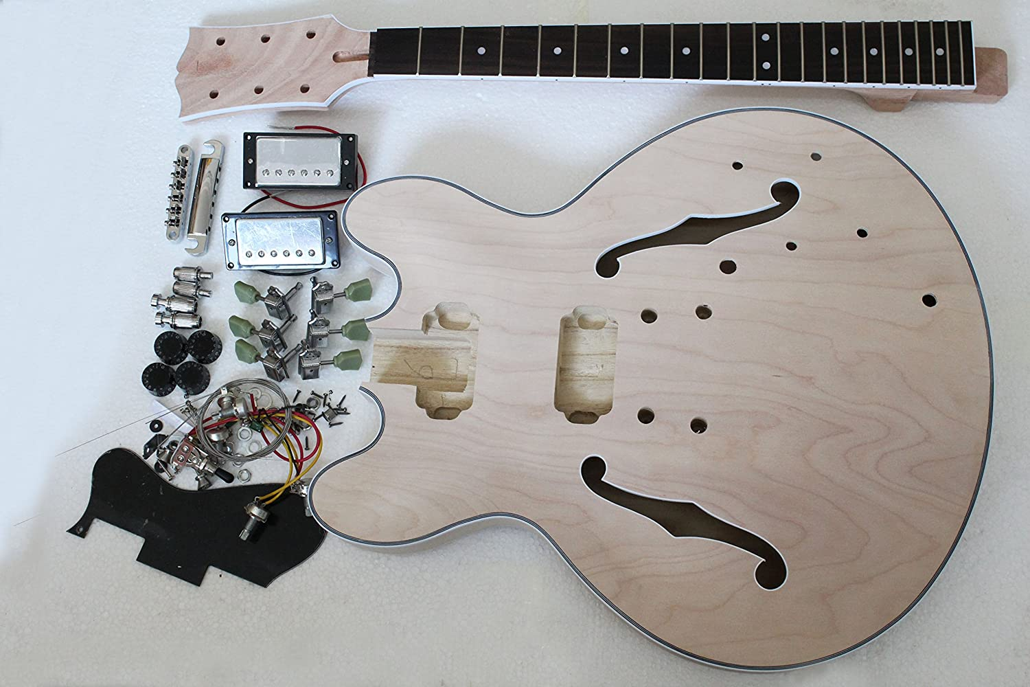 Project electric semi-hollow jazz guitar kit with all parts musoo 5215412154