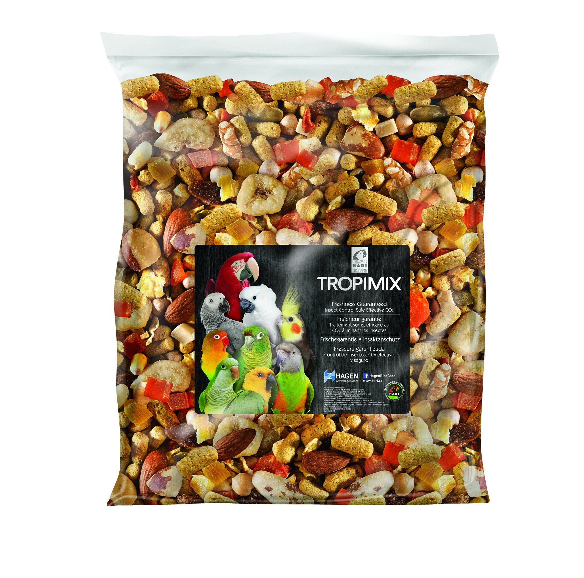 Tropimix Large Parrot Food Mix, Premium Blend of human-Grade Grains, Legumes, Nuts, Fruits & Vegetables, 20 lb Bag by Hari