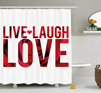 Ambesonne Live Laugh Love Shower Curtain Typographic Montage Words With Macro Rose Petals Texture Print