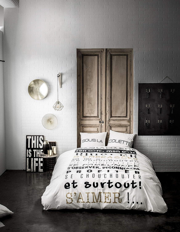 Blanc,140 x 200 TODAY Parure Housse de Couette Ado Hello