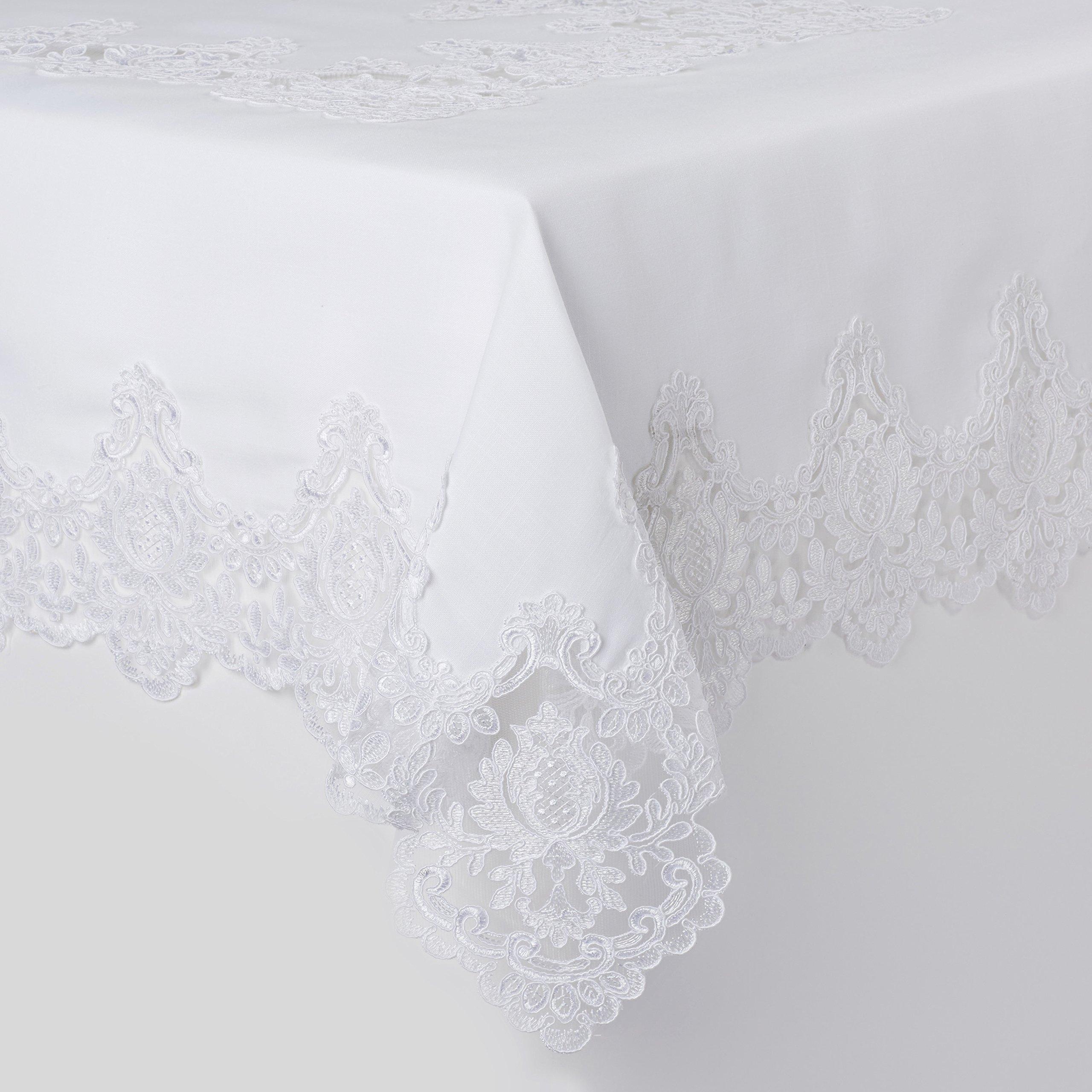 Violet Linen Imperial Embroidered Vintage Lace Design Oblong/Rectangle Tablecloth, 70'' x 180'', White by Violet Linen (Image #1)