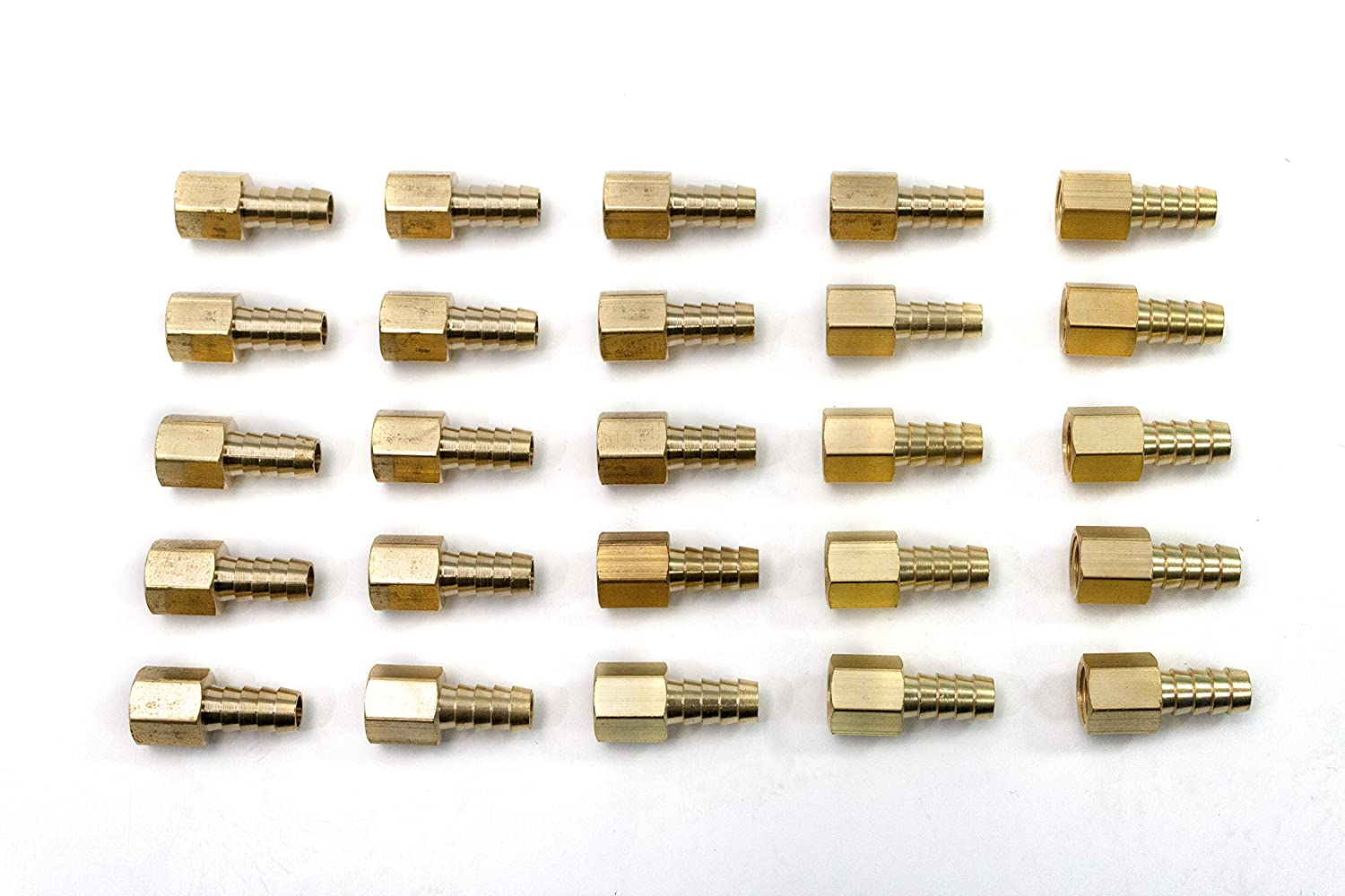 Pack of 25 Generic Brass Barbed Fitting Coupler//Connector 1//4-Inch Hose Barb x 3//8-Inch Female NPT