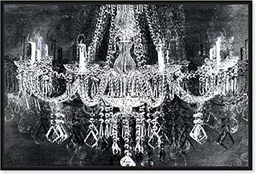 The Oliver Gal Artist Co. Fashion and Glam Framed Wall Art Canvas Prints 'Crystal Attraction' Chandeliers Home D cor