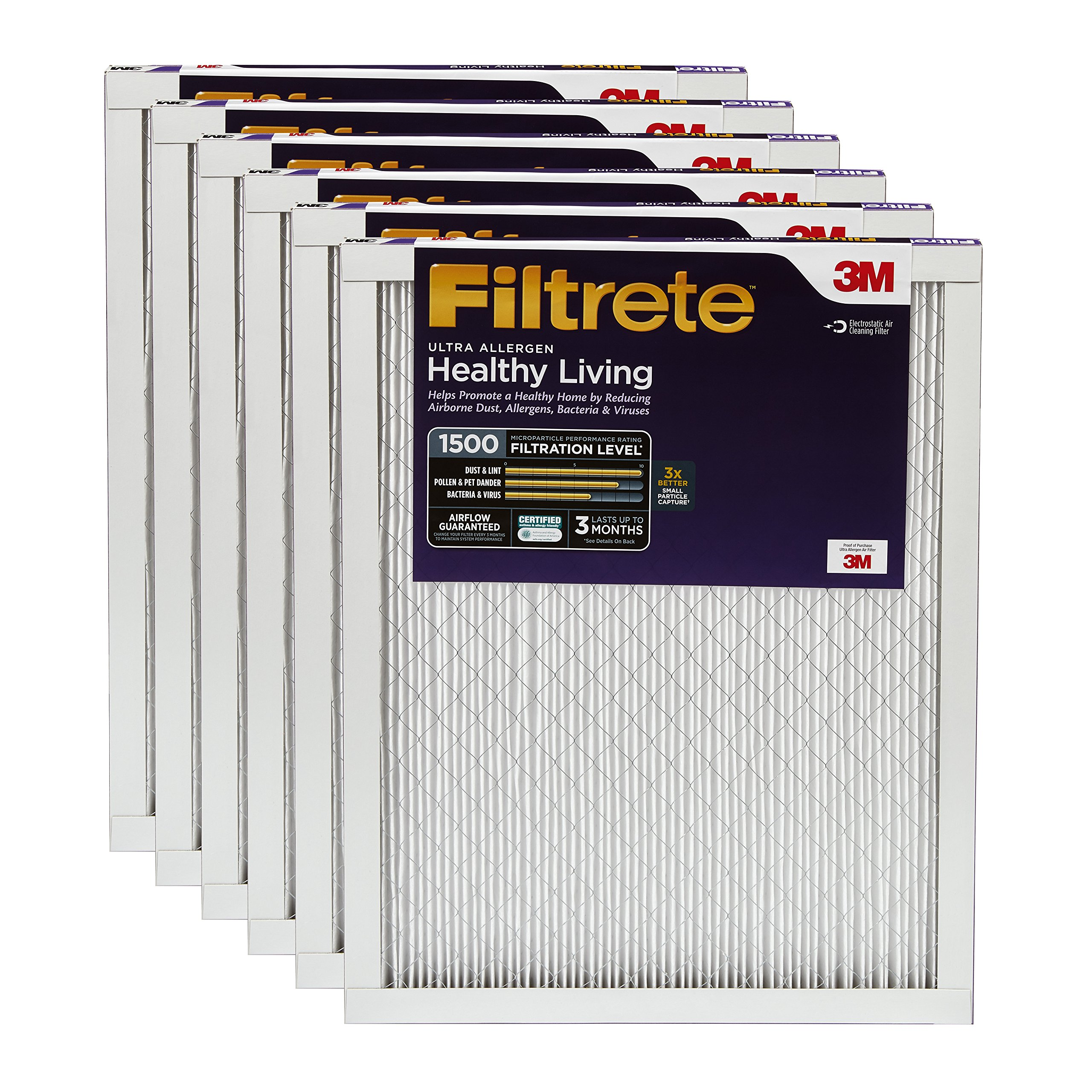 Filtrete MPR 1500 16 x 25 x 1 Healthy Living Ultra Allergen Reduction HVAC Air Filter, Guaranteed Airflow up to 90 days, Attracts Fine Inhalable Particles like Bacteria & Viruses, 6-Pack