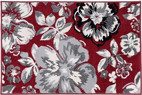 Modern Floral Area Rugs 2 x 3 Burgundy Black
