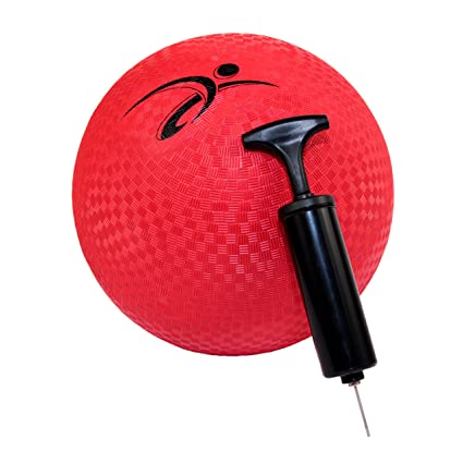 Fitness Factor 10 Inch Red Rubber Playground Ball - with Air Pump for  Inflatable Balls -