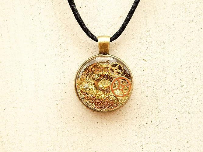 Amazon steampunk gear snow globe pendant necklace jewelry with steampunk gear snow globe pendant necklace jewelry with movement aloadofball Choice Image