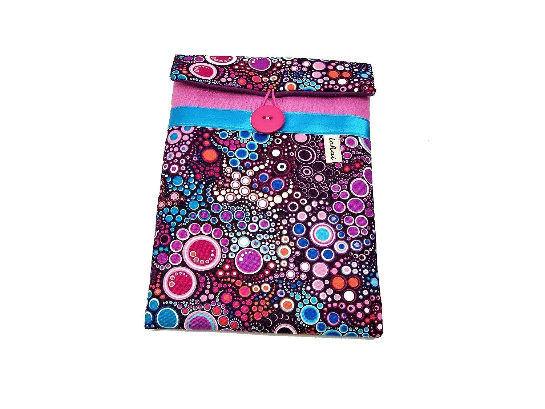 pochette ipad mini rose et violet a motifs graphiques bulles , housse pour tablette 8 pouces et toile et tissu effervescence , etui pour liseuse , cadeau pour elle , saint valentin