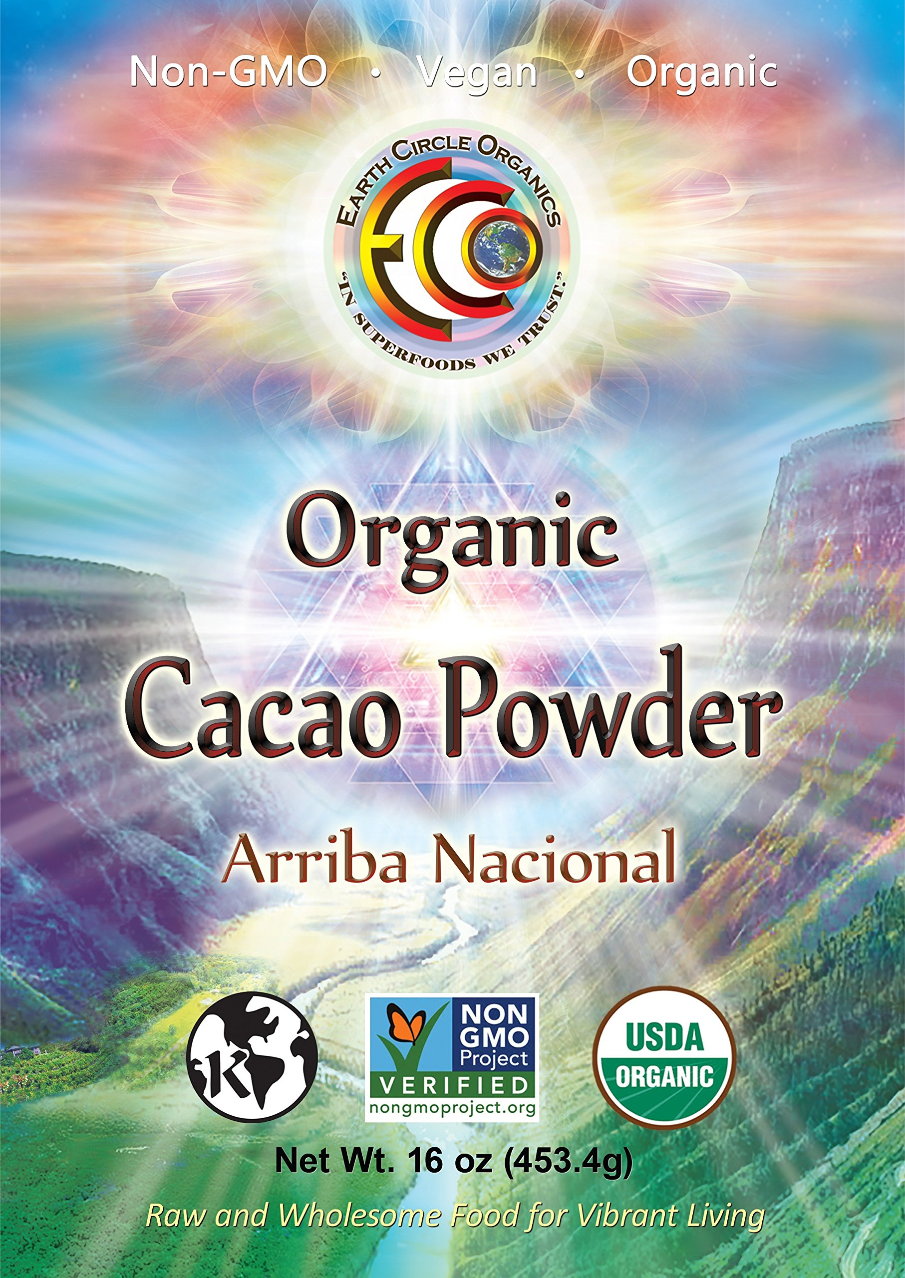 Earth Circle Organics Ecuadorian Cacao Powder, 16 Ounce (454g) Pure Unsweetened Organic Antioxidant Superfood for Smoothies and Baking