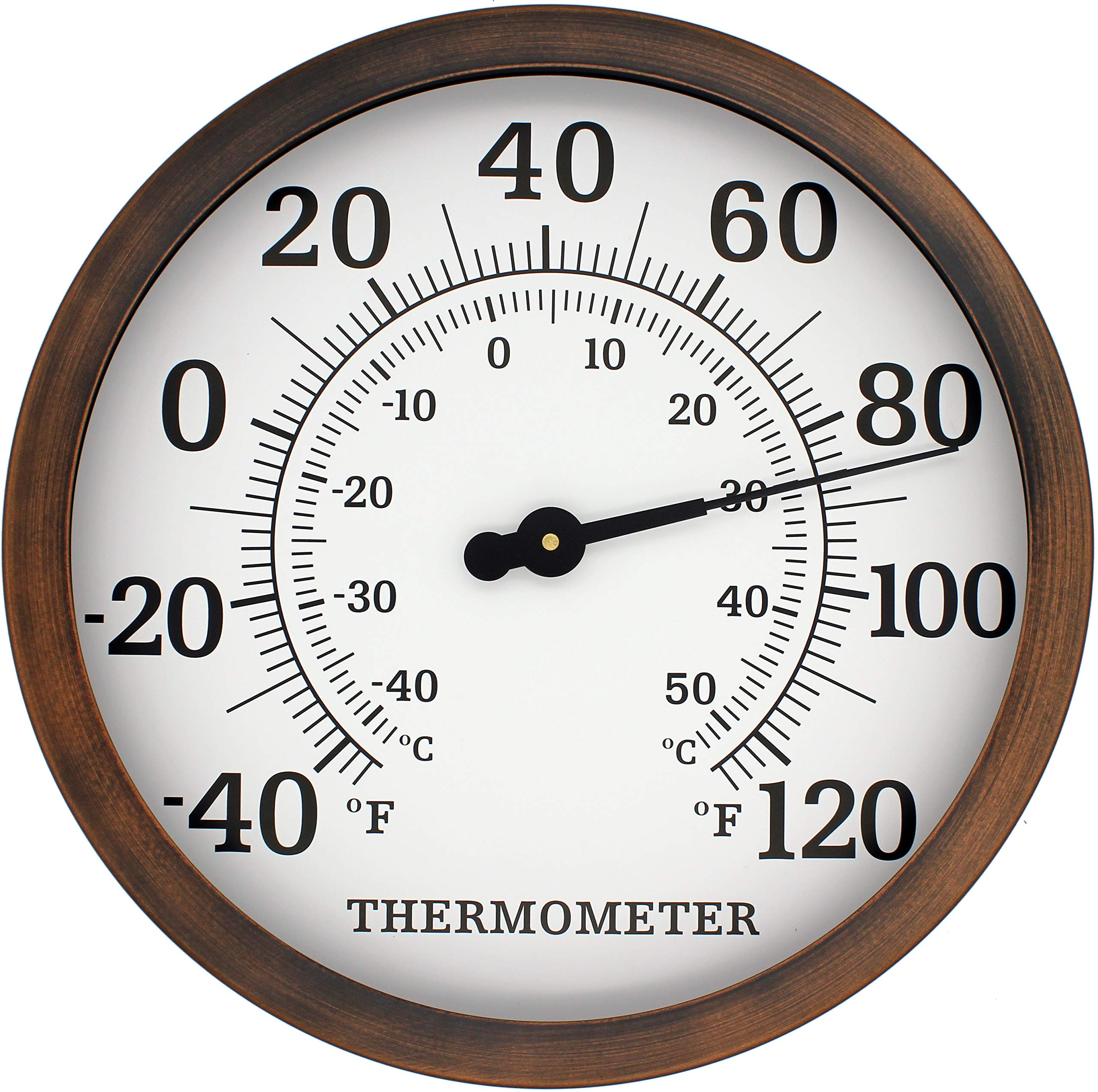 PEDILYS Temperature Thermometer 12' Large, Decorative, Wall-Mounted Indoor / Outdoor Accurate Celsius and Fahrenheit Measurements for Home, Garage, Pool and Patio (Bronze)