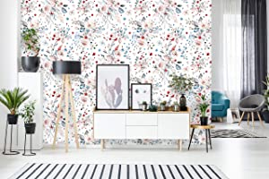 Removable Wallpaper   Peel and Stick Floral Wallpaper   Self Adhesive Flower Wallpaper   Floral Rose (24
