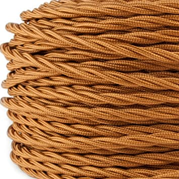 Stoffkabel 3-adrig Textilkabel f/ür Lampe * Made in Europe * Gold 3 Meter 3x0,75mm/²